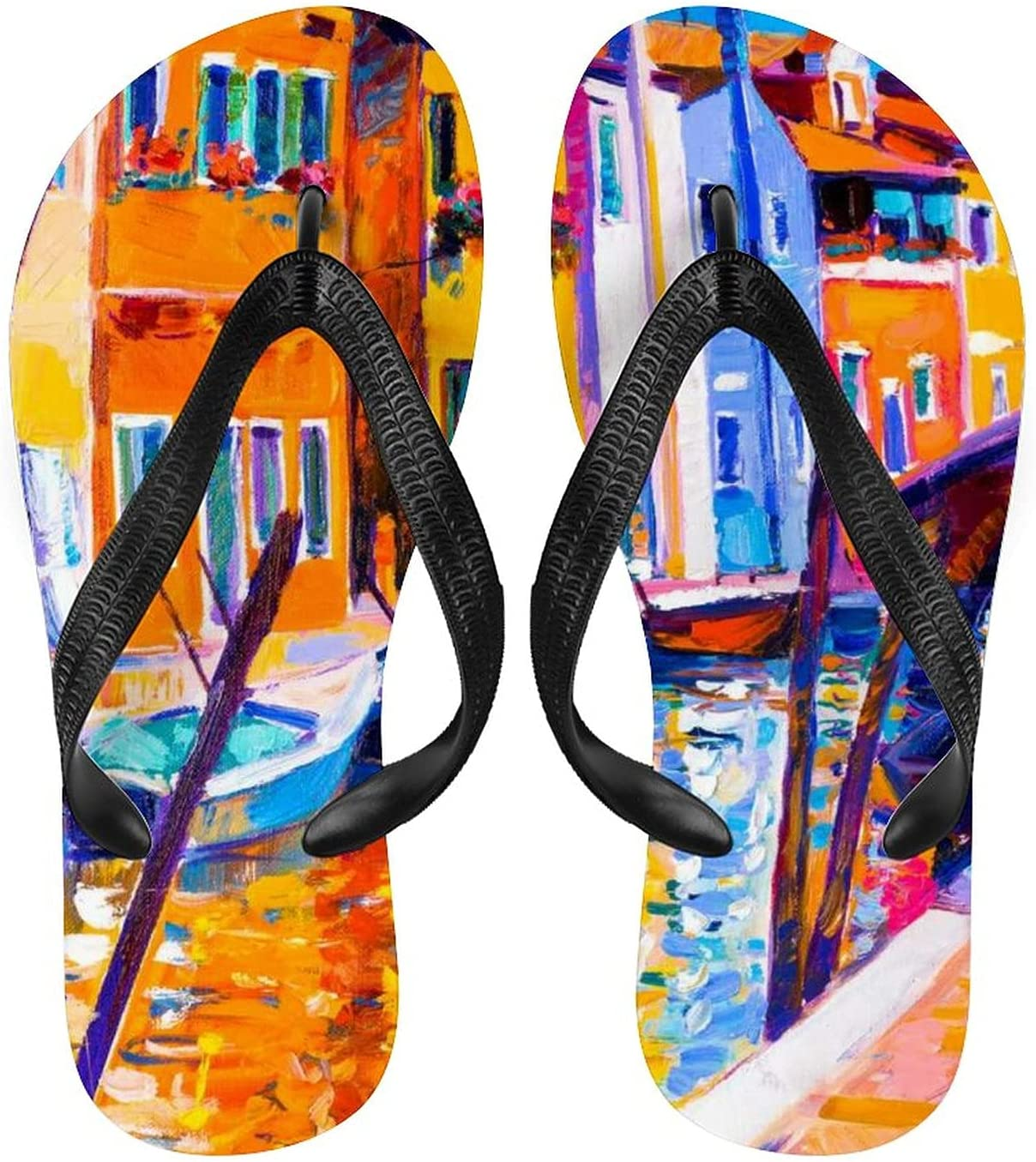 Abstract Oil half Painting Adult New products world's highest quality popular Non-Slip Beach Sli Summer Flops Flip