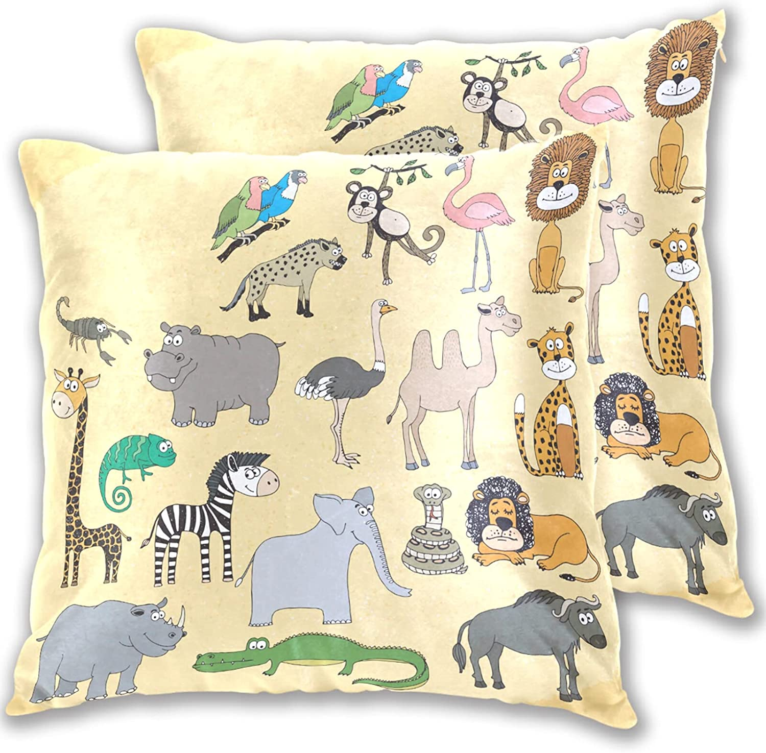 Dzkopi Cute Funny Animals Africa Pillowcase Covers 2-Piece Kids