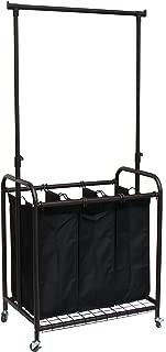 Oceanstar 3-Bag Rolling Adjustable Hanging Bar Laundry Sorter, Bronze