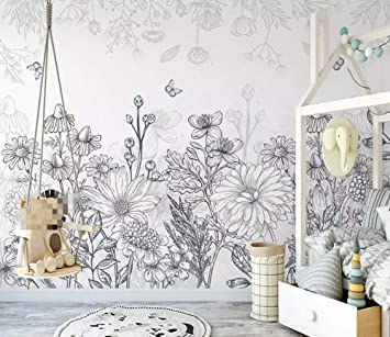 Amazon Com Wall Mural 3d Hand Drawn Black And White Sketch Floral Vintage Custom Wallpaper 3d Effect Large Mural Wall Murals Home Decor 430cmx300cm Tools Home Improvement