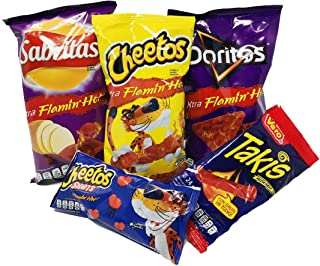 Tiendita Box Mexican Assortment Chips (5 Count), Variety Of Spicy Bulk Potato Chip Papitas Mexicanos Includes Takis Sabritas, Cheetos, Doritos, Flamin Hot, Vero Makes A Great Gift Box Care Package