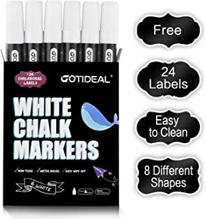 GOTIDEAL Liquid Chalk Markers, 6 Pack White Chalk Pens for Windows, Chalkboard Signs, Blackboard, Glass Painting, Dry & Wet Erase - 6mm Reversible Medium Tip-24 Free Chalkboard Labels