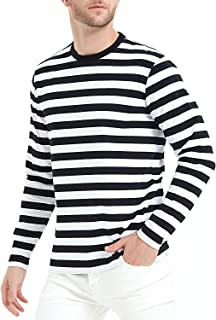 LEDING Men's T-Shirt Casual Cotton Spandex Striped Crewneck Long-Sleeve T-Shirts Basic Pullover Stripe Man tee Shirt