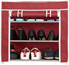 Harisons Homes Foldable Shoe Rack with 3 Shelves (Red)