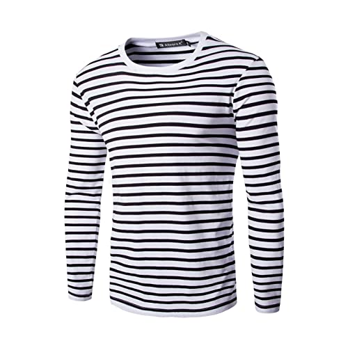 19df983d9d uxcell Men Casual Pullover Basic Crew Neck Long Sleeve Striped Tee T Shirt