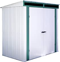 Arrow 6' x 4' Euro-Lite Shed Eggshell with Green Trim and Pent Roof Steel Storage Shed