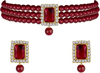 I Jewels 18K Gold Plated Traditional Handcrafted Stone Studded Pearl Choker Necklace Jewellery Set With Earrings For Wome...