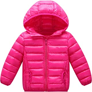 Happy Cherry Boys Hooded Down Puffer Coat Windproof Lightweight Zipper Jacket Winter Warm Outerwear Rose Red