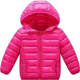 Happy Cherry Boys Hooded Down Puffer Coat Windproof Lightweight Zipper Jacket Winter Warm Outerwear Rose Red