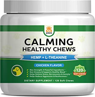 Calming Treats for Dogs - Hemp Oil Infused Soft Chews for Dog Anxiety & Stress Relief - Natural Pet Calm Bites w/Melatonin & L-Theanine - Aids Separation, Travel & Barking - 120 Calm Treats