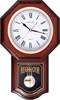 Pendulum Wall Clock with Chimes, MEIDI CLOCK Battery Operated Silent Decorative Plastic Quartz Movement for Home Kitchen Living Room, Large Brown