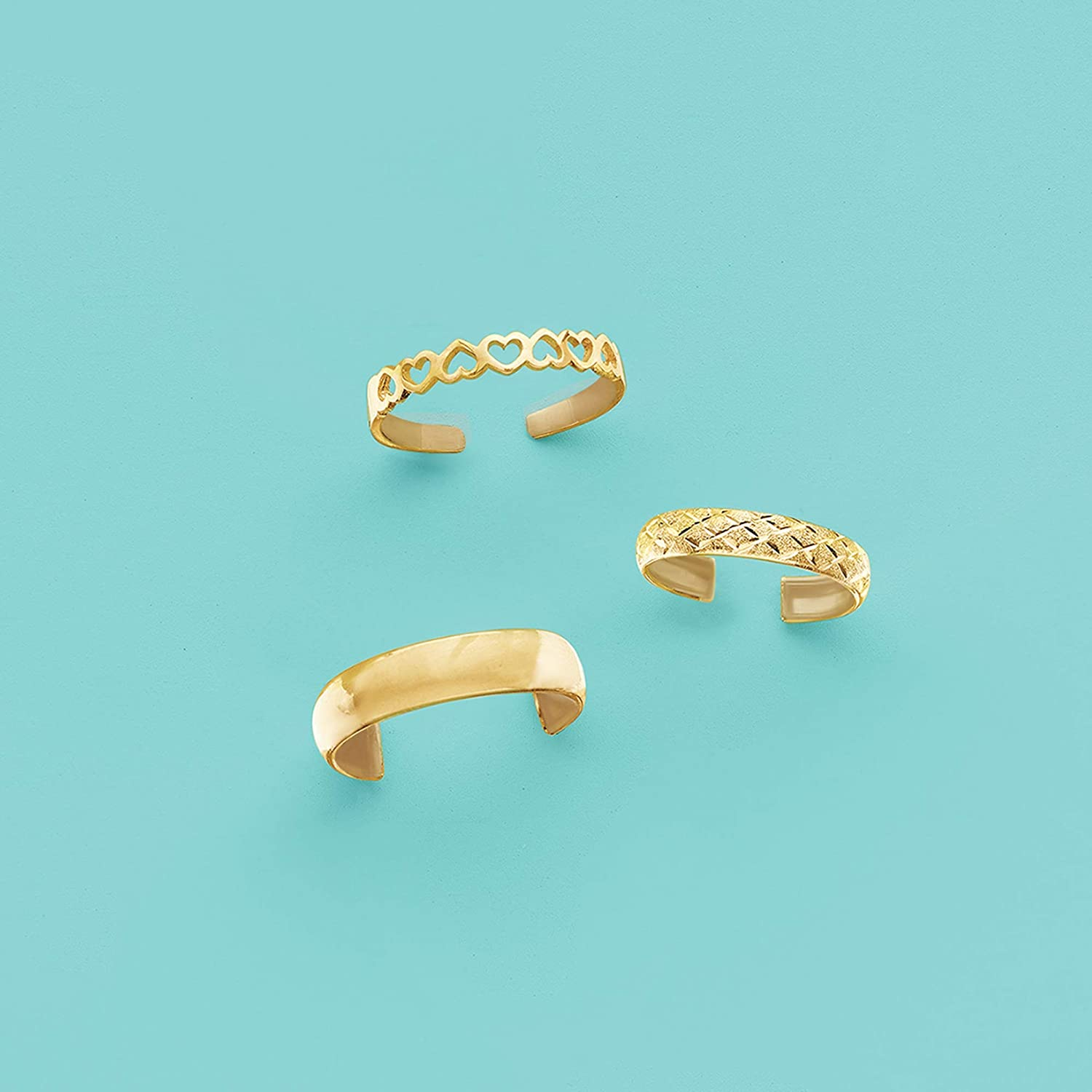 Ross-Simons 14kt Yellow Gold Openwork Hearts Toe Ring
