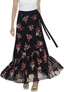 Indian Dresses Store DeeVineeTi Women's Georgette Floral Ruffle Long Wrap-Around Skirt (WA000208, Dark Blue, Freesize)