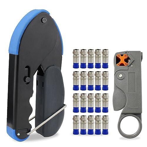 Para la compresión del cable de herramientas para conectores de montaje RG6 Stripper Con 20x conectores