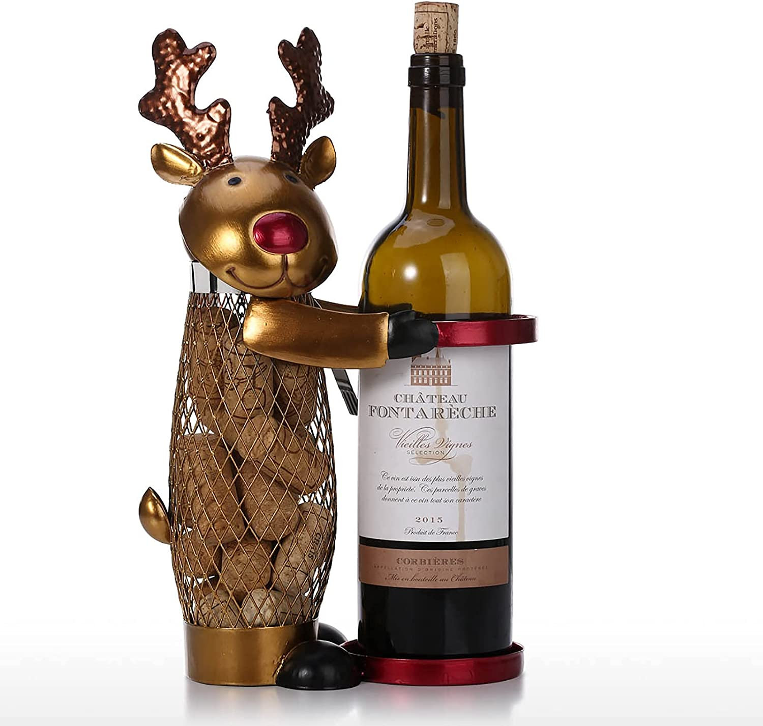 boaber Max 81% OFF Christmas Max 82% OFF Elk Wine Rack Container Metal Carving Cork