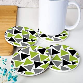 Round Drink Coaster Sets of 4 Random Triangles Lime Green Gray Black on White Ceramic Cup Mat Suitable for Kinds of Cups T...