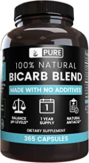 All-Natural Bicarb Blend   1-Year Supply  365 Capsules  No Fillers, Vegetarian, Non-GMO, No Additives, Gluten-Free, Made in USA, 825mg of Undiluted Sodium Bicarbonate & Potassium Bicarbonate