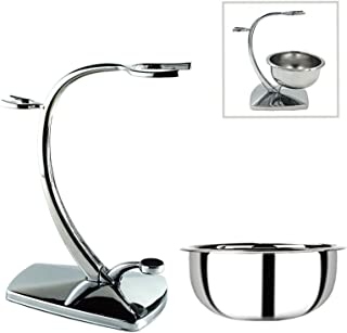 Luxury Premium Quality Set of Chrome Shaving Stand with Shaving Bowl - Compatible with MOST Manual Razors and Brushes