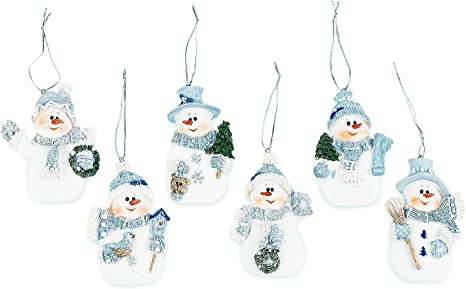 Amazon Com Resin Blue Snowman Christmas Ornaments Pack Of 12 Home Kitchen