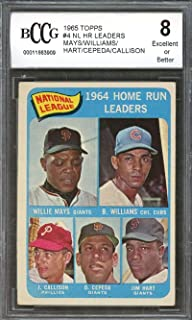 1965 topps #4 WILLIE MAYS/WILLIAMS/CEPEDA/CALLISON nl hr leaders BGS BCCG 8 Graded Card