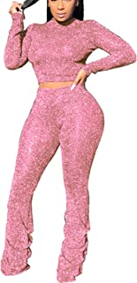 Two Piece Outfit for Women Sparkly Sexy Crop Tops + High Waist Long Pants Sweat Suits Tracksuits Workout Set