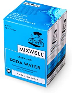 Mixwell Sparkling Soda Water - Premium Mixer for Drinks - Made with Organic and Natural Ingredients - 12 Fl Oz Can (4 Pack)