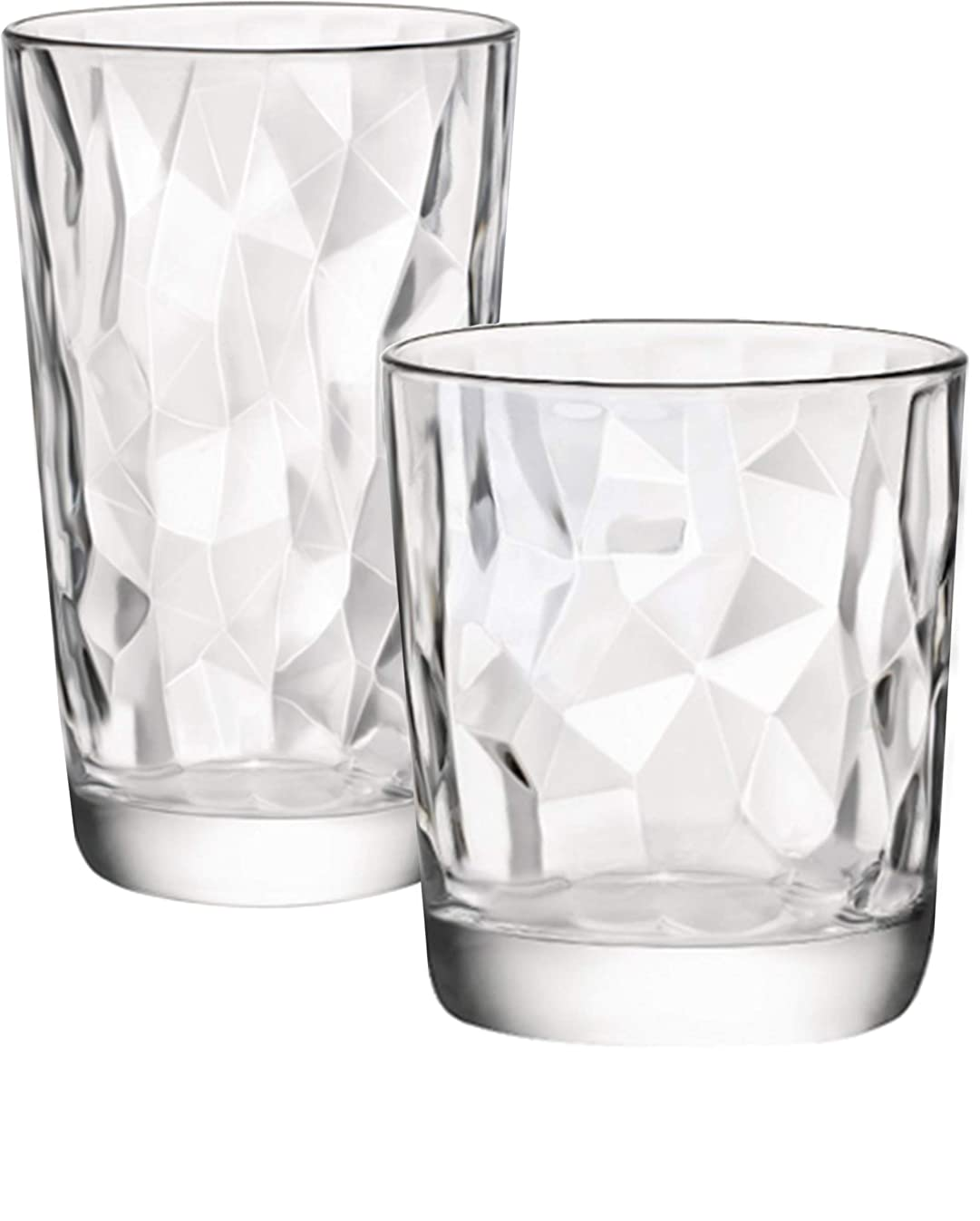 Circleware 40158 Cabrini Set of 12 Drinking Glasses & Whiskey Cups Glassware for Water, Beer, Juice, Ice Tea Beverage 6-15.7 oz & 6-12.5 oz 12pc