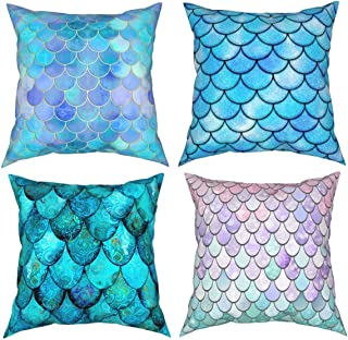 Aqua Turquoise Mermaid Or Dragon Scales Printing Decorations Cushion Covers 18 x 18 Inch Sofa Home Decor Throw Pillow Case...