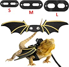 Adjustable Lizard Harness Leather Bearded Dragon Reptile Leash with Cool Wings for Small Animal Outdoor Safety Walking (S,M,L,3pack)