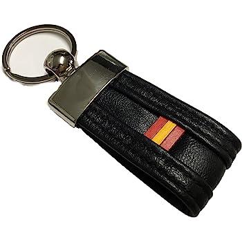 Llavero de Piel Bandera de España negro: Amazon.es: Ropa y accesorios