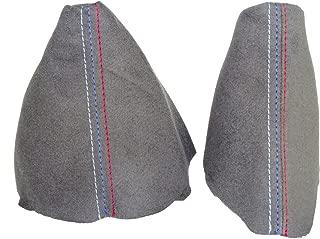 The Tuning-Shop Ltd for BMW E90 E91 E92 E93 2005-2013 Shift & E Brake Boot Grey Genuine Suede M3 /// Stitching