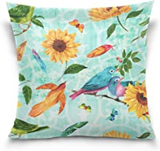 Mydaily Vintage Bird And Flower Square Throw Pillow Case Cotton Velvet Cushion Cover 18x18 inch