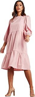 Solid Tiered Midi Women's Dress with 3/4 Sleeves