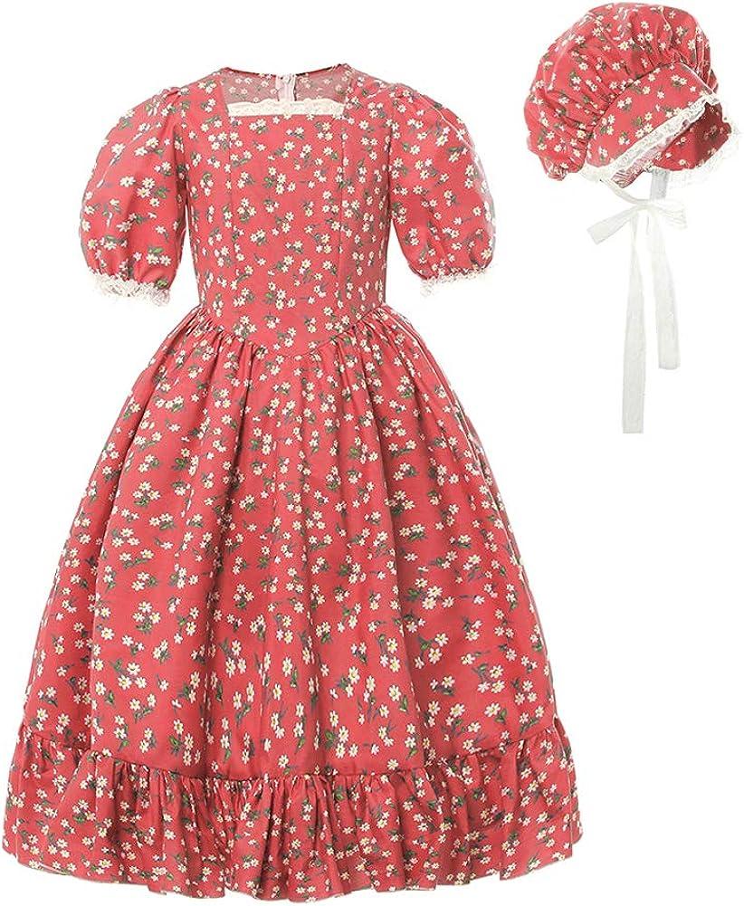 Steampunk Clothing, Fashion, Costumes Pioneer Girls Costume Kids Child Prairie Colonial Pilgrim Costumes $32.99 AT vintagedancer.com