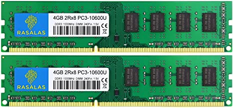 Rasalas 8GB Kit (2x4GB) PC3-10600 DDR3 1333 PC3 10600U Ram DDR3 2Rx8 PC3 10600U 1333 mhz DDR3 1.5V CL9 240-pin DDR3 Memory Module Upgrade for Desktop