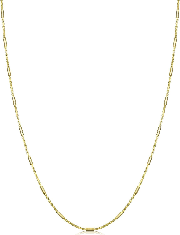 Kooljewelry 14k Yellow Gold 1.2 mm Tube Bar Station Necklace