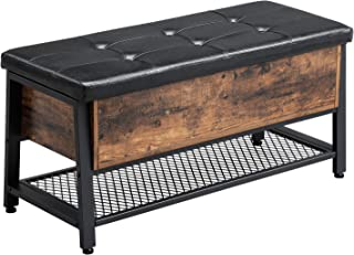 VASAGLE Industrial Storage Bench, Shoe Bench with Padded Seat and Metal Shelf, Multifunctional Seat Chest, Hallway Living Room, Sturdy Metal Frame ULSB47BX