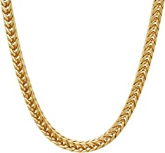 The Bling Factory 6mm 14k Gold Plated Franco Chain Necklace + Microfiber Jewelry Polishing Cloth