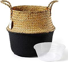 سلة POTEY 710301 من الأعشاب البحرية - سلة بطن منسوجة يدوياً مع مقابض، تخزين وسطى للغسيل، للنزهة، غطاء وعاء النبات، ديكور ا...