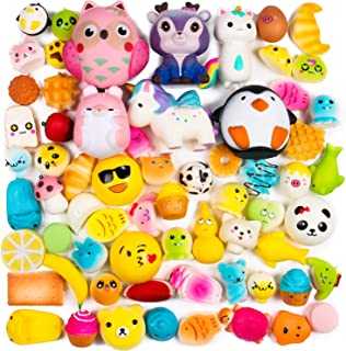 BeYumi Random 16 PCS Squishy Toys(Including 15 PCS Mini + 1 PC Free Big Squishy),Kawaii Soft Cream Scented Slow Rising Food and Animals for Children Toy