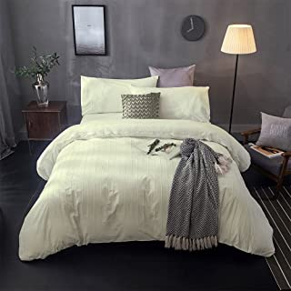 Merryfeel Duvet Cover Set,100% Cotton Embroidery Lace with Pintuck Pleat Duvet Cover Set- Cream - King