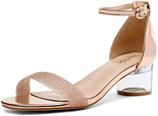 Women's Rhinestone Formal Low Heels Sandals Open Toe Party Dress Wedding Shoes