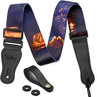 BestSounds Guitar Strap & Genuine Leather Ends Guitar Shoulder Strap for Bass, Electric & Acoustic Guitars Includes Strap Button & 2 Strap Locks