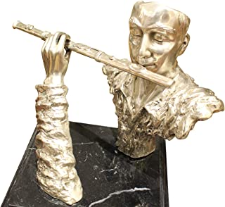 Man Playing Flute Bronze Statue - Size: 10