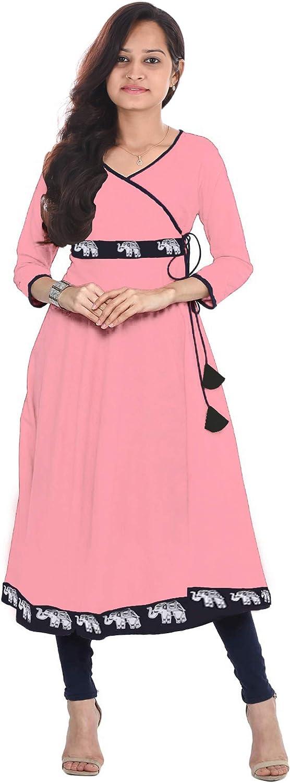 Lakkar Haveli Peach Color Long Dress Women's Animal Print Frock Suit Casual Tunic Maxi Dress