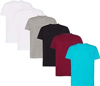VM - Pack de 6 Camisetas Básicas de Manga Corta para Hombre, Tallas Desde S hasta 5XL, Camisetas 100% Algodón