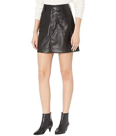 Madewell Vegan Leather A-Line Mini Skirt (True Black) Women