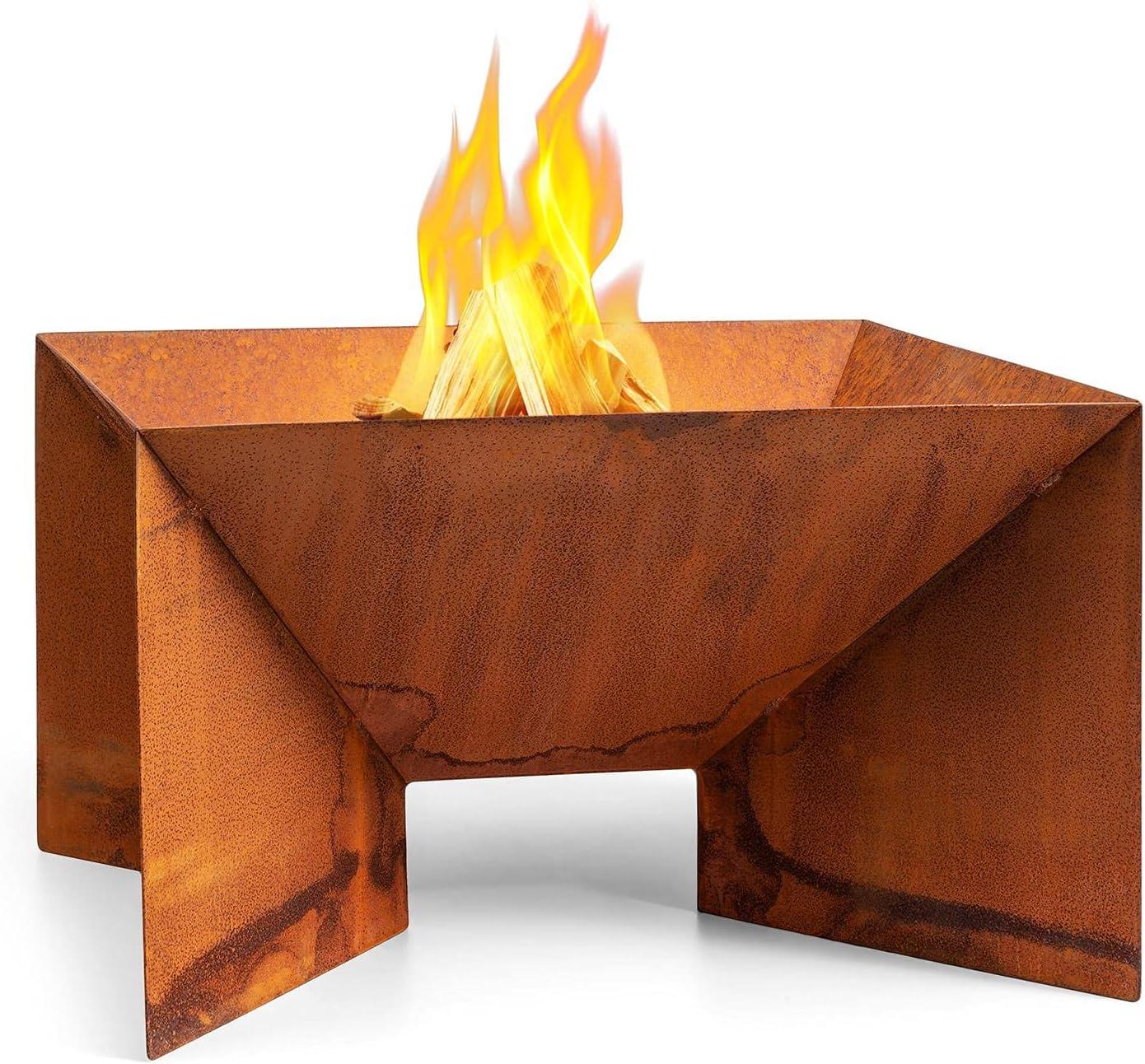 blumfeldt Desert Rust - Brasero, para Uso con leña o carbón, Resistente a la Intemperie, Grosor 1,5 mm, Material de Acero corten, Color óxido, Dimensiones 52 x 32 x 46 cm, Cuadrado