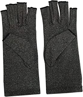 HighlifeS Exercise Gloves Anti Arthritis Copper Fingerless gloves compression therapy circulation (Gray)
