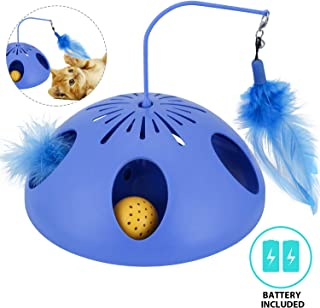 WINGPET Interactive Cat Toys - Automatic Cat Teaser & Exerciser Kitten Toys with Feather Wand, Spinning Feather and Cat Ball Track, Great for Cat Entertainment, Training or Hunting